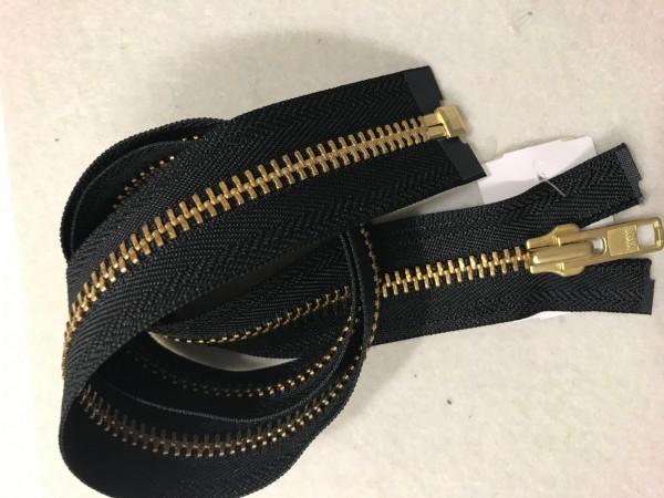 Reißverschluss Metall schwer Gold teilbar Schwarz 75 cm