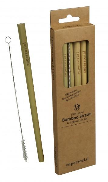 Bambusstrohhalm-Set 6 Stk.+ Bürste Zuperzozial