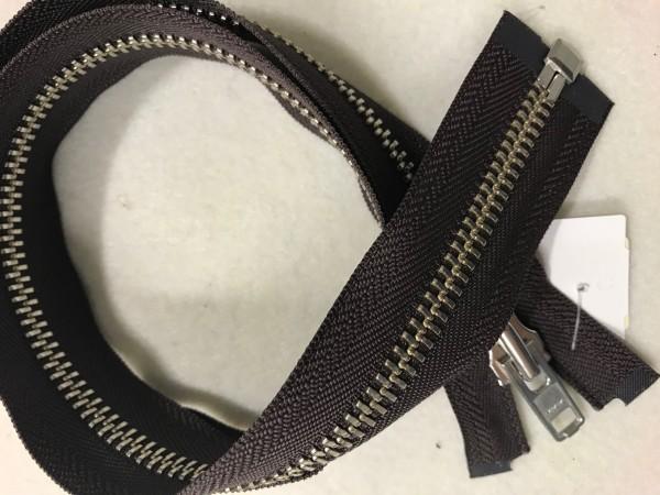 Reißverschluss Metall schwer Silber teilbar Braun 75 cm