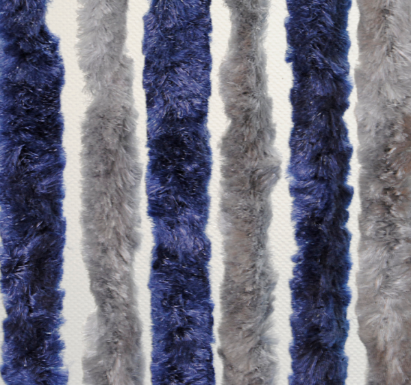 Flauschvorhang blau/silber
